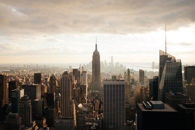 město, budovy, smog
